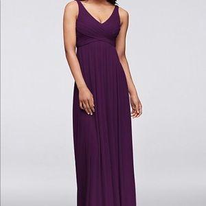 David's Bridal Long Mesh Dress w/Cowl Back Size 0